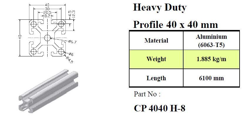 Aluminium Profile 40x40 mm Heavy Duty   Aluminium Profile